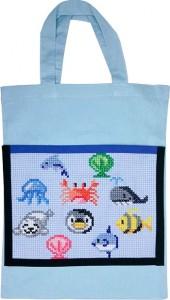 水色バッグ:海の生き物